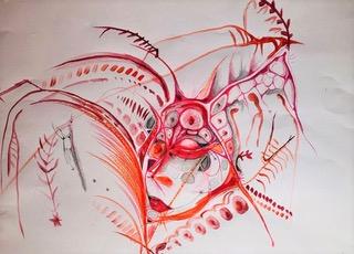 Ruby (1): Aquarell, Bleistift, Buntstift und Ölkreide auf Papier, 60(B) x 42 (H)cm, (2020).