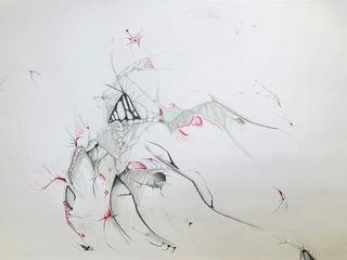 Ruby (2): Bleistift und Buntstift auf Papier, 60(B) x 42(H)cm, (2020).