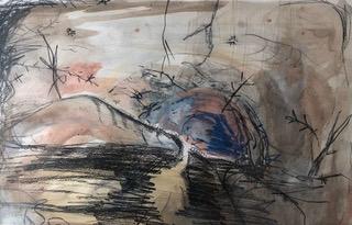 Under the Stars (2): Aquarell, Bleistift, Buntstift, Kreide auf Papier, 52(B) x 40(H)cm, (2020).