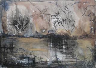 Under the Stars (1): Aquarell, Bleistift, Buntstift, Kreide auf Papier, 52(B) x 40(H)cm, (2020).
