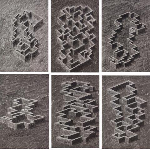 04 Walter_Yu-Serie_Labyrinth_gesamt-jeweils-68x45cm-2020-Tusche_Bleistift_Papier (1)